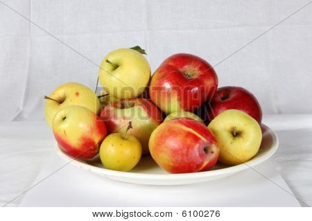 Apples on a dish