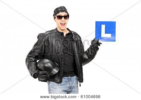 Biker holding an L sign isolated on white background