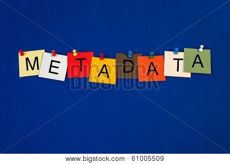 Metadata, Sign Series for Data Classification, Computers and the Internet.