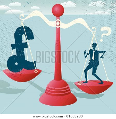 Businessman and Pound Sign balance on giant scales.