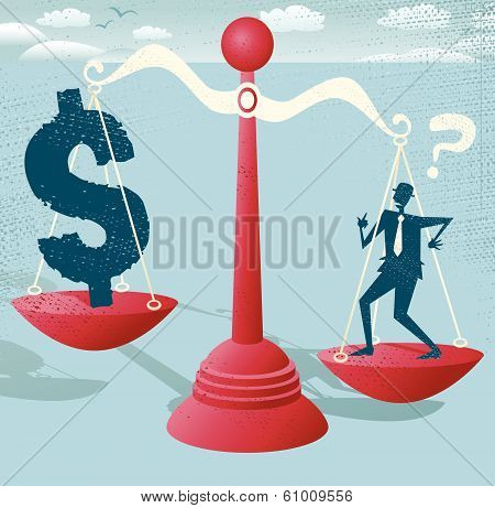 Businessman and Dollar Sign balance on giant scales.