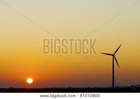 Windmill for renewable electric energy production, La Muela, Zaragoza, Aragon, Spain