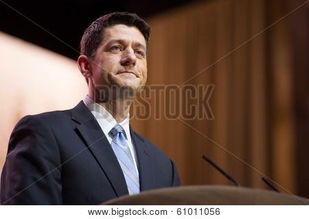 NATIONAL HARBOR, MD - MARCH 6, 2014: Congressman Paul Ryan (R-WI) speaks at the Conservative Political Action Conference (CPAC).