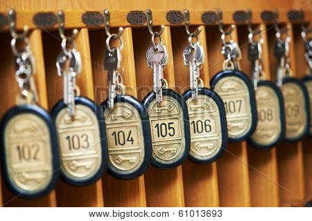 hotel room keys at reseption desk counter