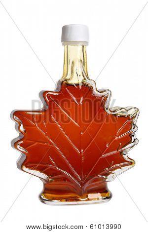 Leaf shaped bottle of maple syrup, cutout on white background
