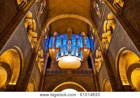 MONACO-VILLE, MONACO - JULY 13, 2013: Pipe organ in Saint Nicholas Cathedral - national cathedral of Principality of Monaco consecrated in 1875 and dedicated to St. Nicholas.