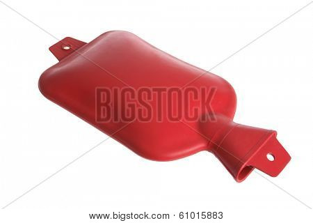 Red hot water medical pack on white background