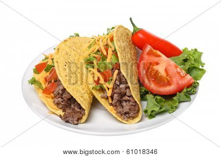 Plate with tacos, cutout on white background