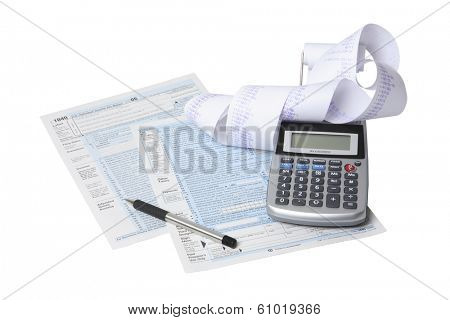 Still life of tax forms and paperwork preparation on white background