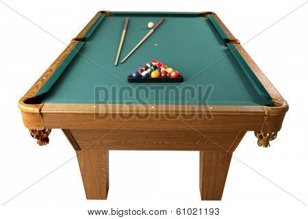 Billiards table with cues and balls on white