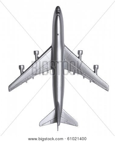 Silver model airplane on white