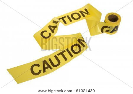 Caution tape unrolling on white background