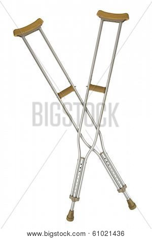Two metal crutches on white
