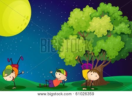 Illustration of the three kids playing near the tree under the fullmoon