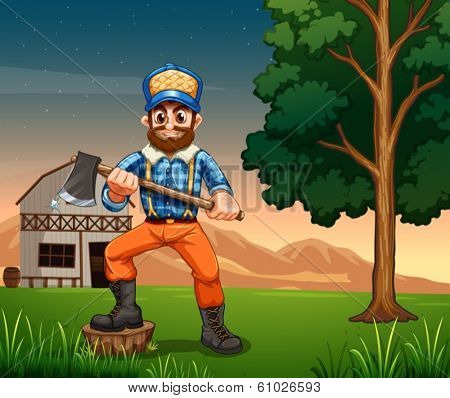 Illustration of a lumberjack standing near the tree while holding a sharp axe
