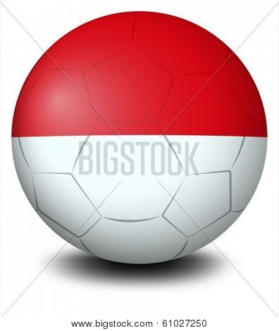Illustration of a soccer ball with the Indonesian flag on a white background