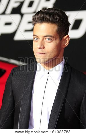 LOS ANGELES - MAR 6: Rami Malek at the premiere of DreamWorks Pictures' 'Need For Speed' at TCL Chinese Theater on March 6, 2014 in Los Angeles, California