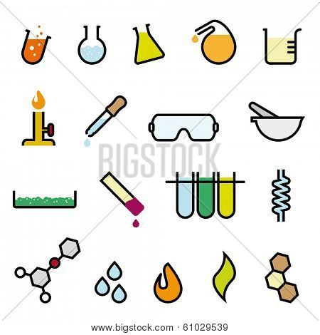 Colorful Chemistry Icon Set. Collection of 18 colorful cartoonish chemistry vector design elements