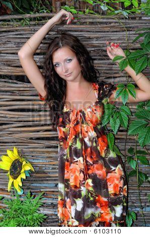 Woman In A Dress Near A Wattled Fence