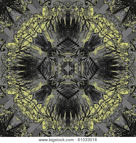 art nouveau ornamental vintage pattern in yellow and grey colors poster
