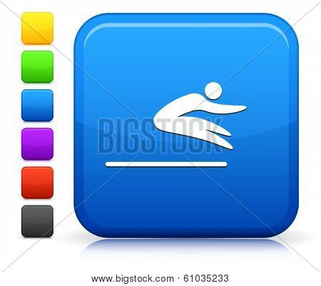 Long Jump Icon on Square Internet Button Collection