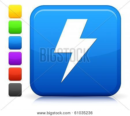 Lightning Bolt Icon on Square Internet Button Collection