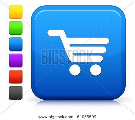 Shopping Cart Icon on Square Internet Button Collection