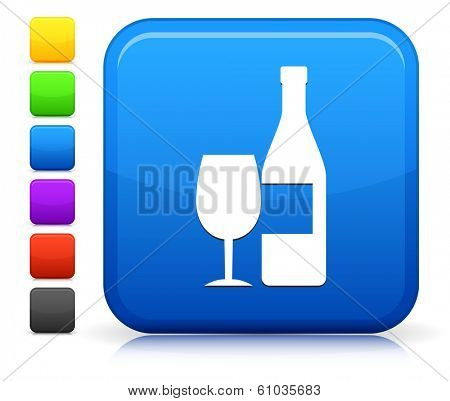 Wine Icon on Square Internet Button Collection