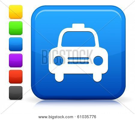 Taxi Icon on Square Internet Button Collection