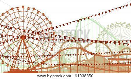 Horizontal Illustration Of Roller-coaster And Ferris Wheel.