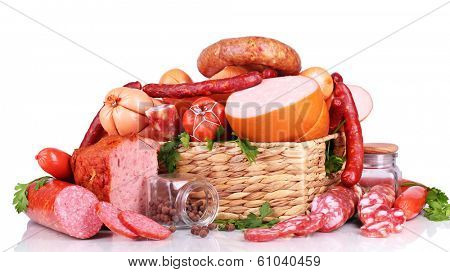 Lot of different sausages in basket isolated on white poster