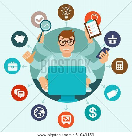 Vector Self Employment Concept In Flat Style