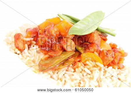 Wholegrain rice with sauce (chicken, pea, pineapple, bell pepper, onion)