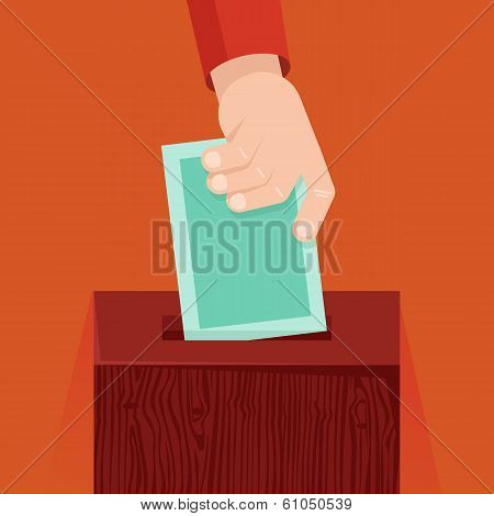 Vector Voting Concept In Flat Style