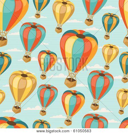 Retro seamless travel pattern of balloons.
