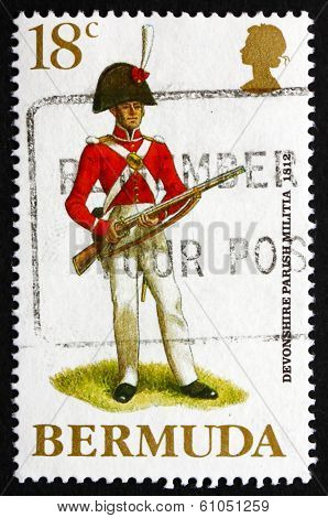 Postage Stamp Bermuda 1988 Devonshire Parish Militia, 1812