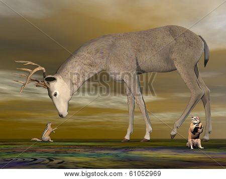 Buck meeting chipmunk - 3D render