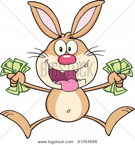 Rich Rabbit Cartoon Character Jumping With Cash. Illustration Isolated on white poster