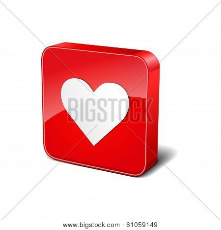 Heart 3d Rounded Corner Red Vector Icon Button