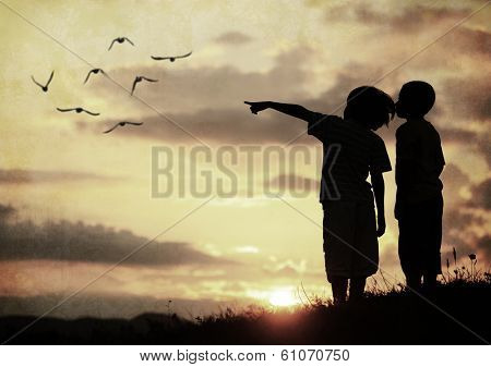 Kids silhouette looking at birds on the sky in air