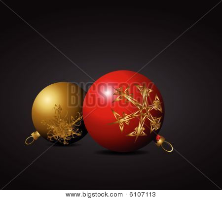Red And Golden Christmas Bulbs