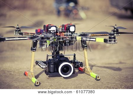 Octocopter drone ready to takeoff