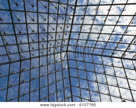 Structure of a glass pyramid of the Louvre Museum, Paris