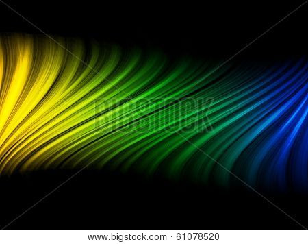 Vector - Brazil Flag Wave Yellow Green Blue Background poster