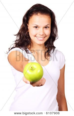 Young Woman Offering An Apple