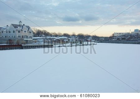 A Snow Covered Byram River In New York