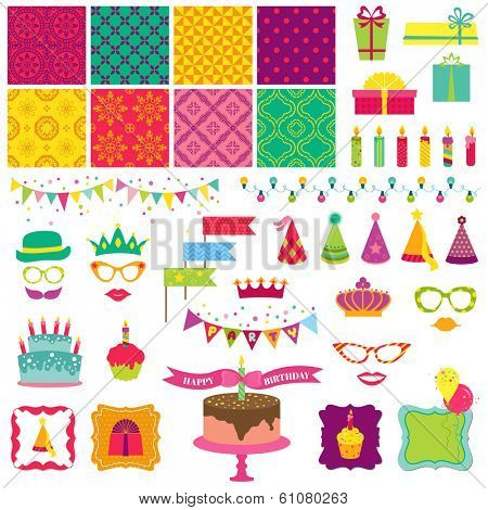 Scrapbook Design Elements - Happy Birthday and Party Set - in vector