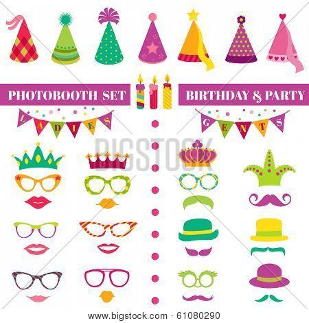 Photobooth Birthday and Party Set - glasses, hats, crowns, masks, lips, mustaches - in vector