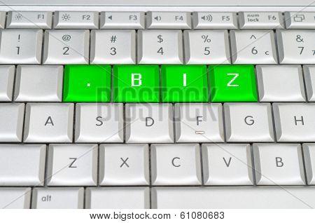 Internet Top Level Domain .biz Spelled On Metallic Keyboard