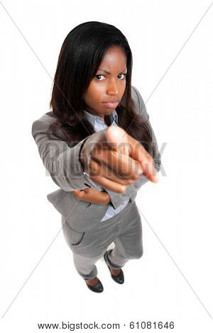 African businesswoman poiting a finger to you